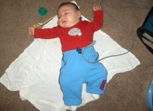 Feeding tube - check, breathing monitor - check, binky - uh-oh!